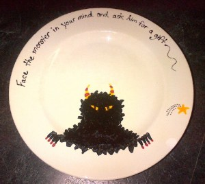 If I had a coat of arms and motto, this would be it. But I don't, so instead, I made myself a dinner plate.